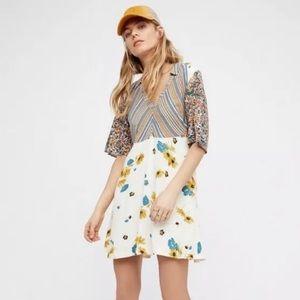 Free People Mix It Up V-Neck Mini Dress Size 2